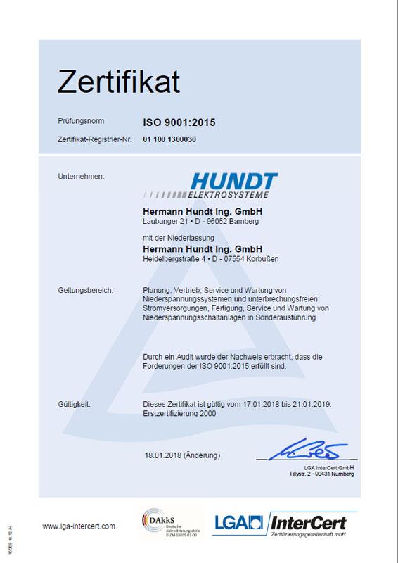 Zertifikat-DIN-ISO-9001-2015 - HUNDT Elektrosysteme